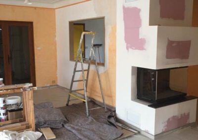 Préparation de l'habillage de la cheminée avant peinture